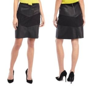 The Limited Striped Faux Leather & Suede Skirt NWT